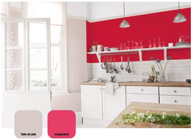 Cuisine Peinture Rouge Et Lin Avec Meubles Blanc Et Cr Dence Carrelage Gris Perle Peinture Coquelicot