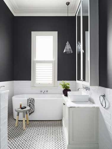 une salle de bain qui prouve combien la teinte grise est une couleur deco facile a