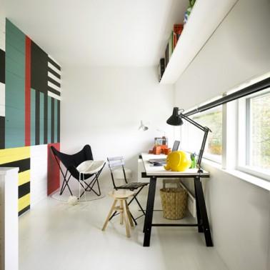 peindre du lambris mur plusieurs couleurs pour deco salon bureau