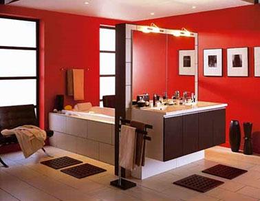 La Salle De Bain Rouge Donne Des Idees Au Gris Et Noir Deco Cool