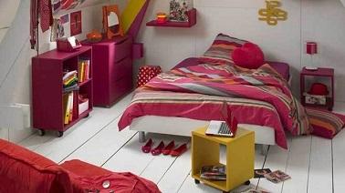 Chambre Ado Fille Rose Rouge Jaune Alina