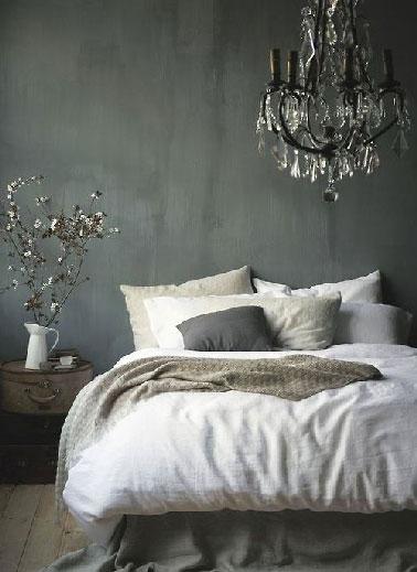 Dco chambre grise et lin ambiance baroque