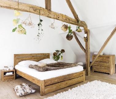 pour une chambre nature douillette a souhait le bois c est un element cocooning