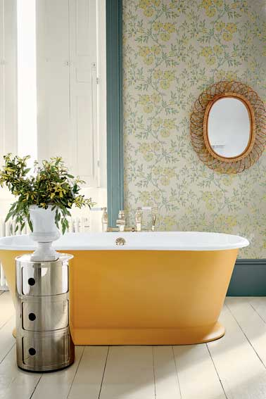Papier peint salle de bain  fleurs Little Greene