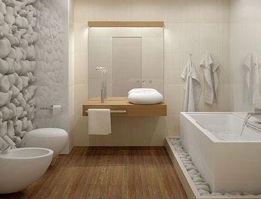 associer blanc et bois dans la salle de bain design installe l ambiance deco naturelle