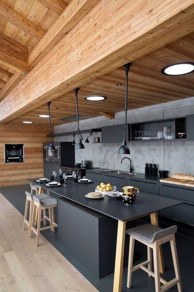 La cuisine ouverte ose le noir pour se faire dco
