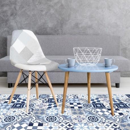 tapis vinyle carreaux ciment bleu