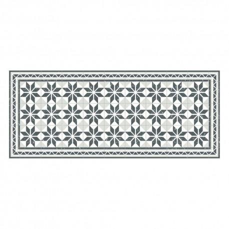 tapis vinyle carreaux ciment gris