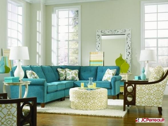 dcoration salon turquoise