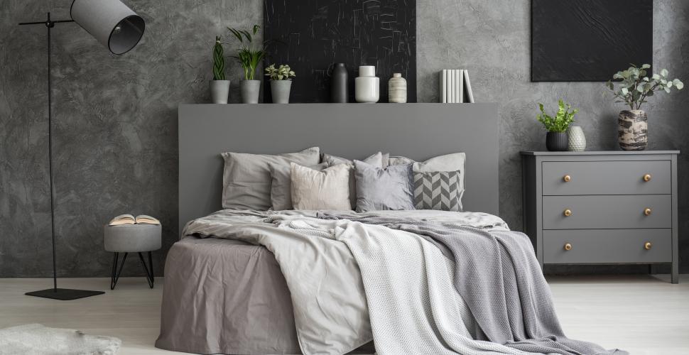 chambre grise et douillette
