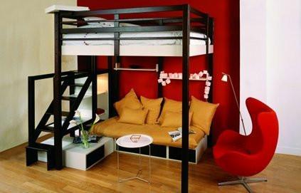 lit mezzanine dans un studio m6 deco