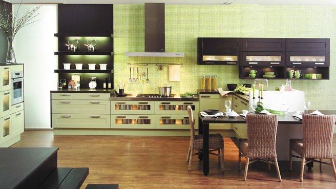 meubles chocolat et vert anis