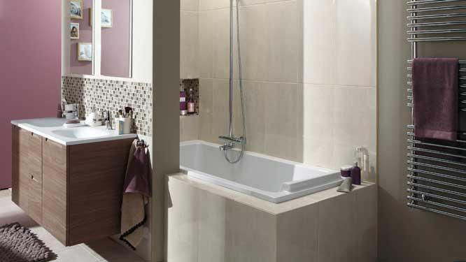 un espace douche dans la baignoire