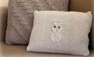 Coussin tricot hibou La petite vie de So