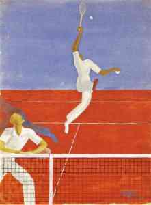 Gouache tennis 2 joueurs au filet Raymond Templier 1943