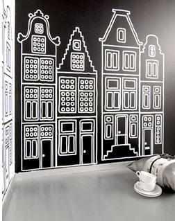sticker maison Amsterdam noir-blanc ZuuZ Wall Design