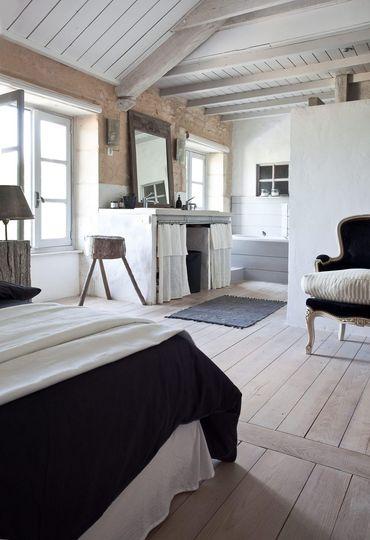 Separation Salle De Bain Chambre Style Campagne