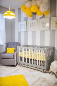 Chambres denfants  en jaune et gris