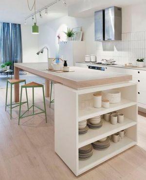 ilot de cuisine avec etagère vaisselle ouverte