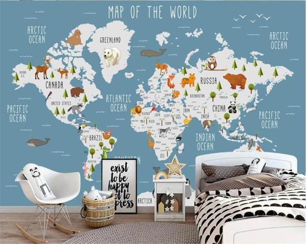 planisphere_Papier_peint_carte_du_monde_enfant_mural_concept