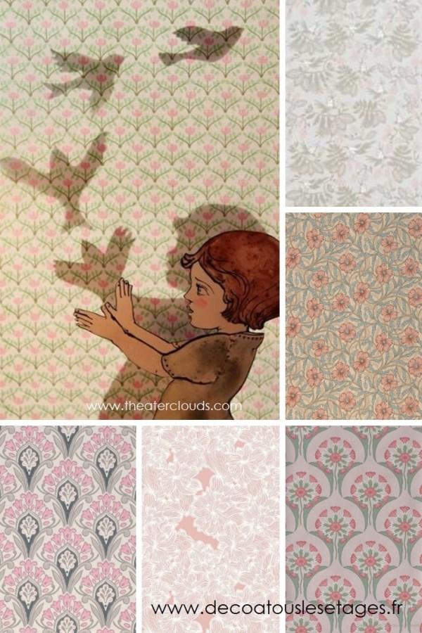 Blog_Atouslesetages_papiers-peints-jardin-imaginaire_enfant_fleurs-oiseaux_illustration-Elly-MacKay_rose-vert