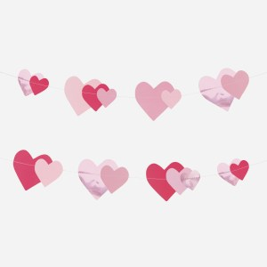 paper garland foil pink hearts scaled