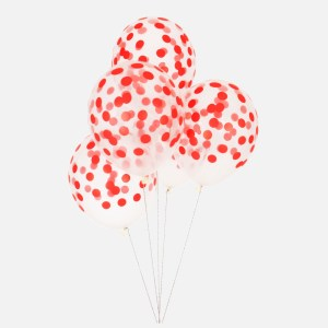 printed confetti balloons red