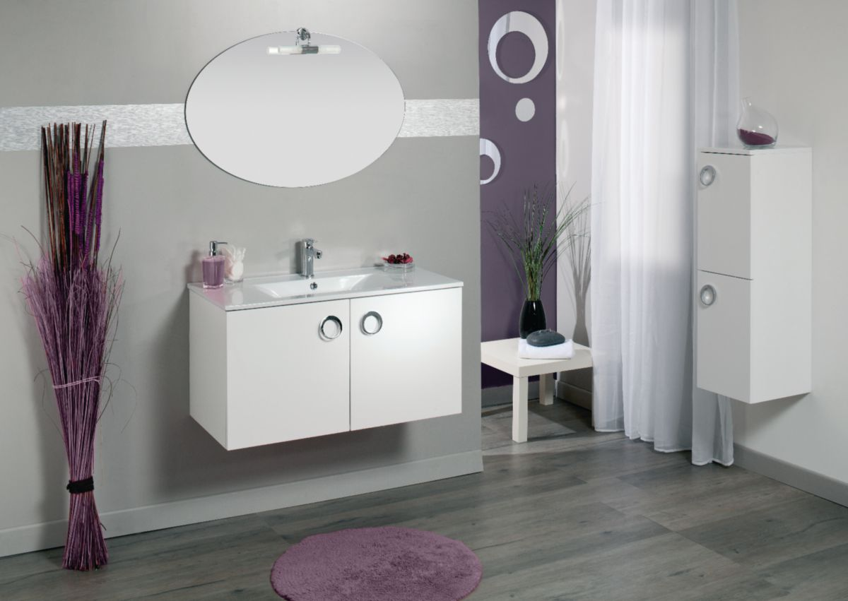 alterna meuble sous vasque seducta longueur 90 cm avec 2 portes chene gris decoceram