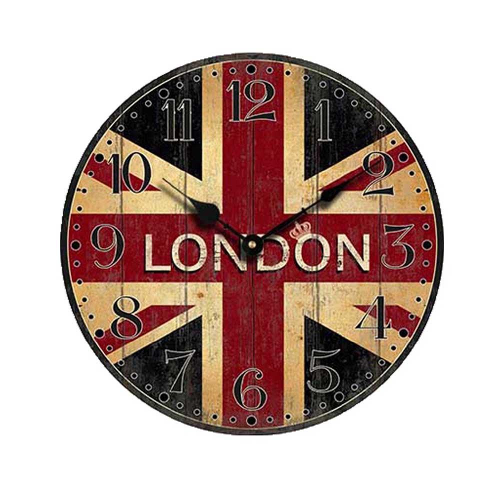 vintage drapeau britannique style non tic tac silencieux bois horloge murale avec londres