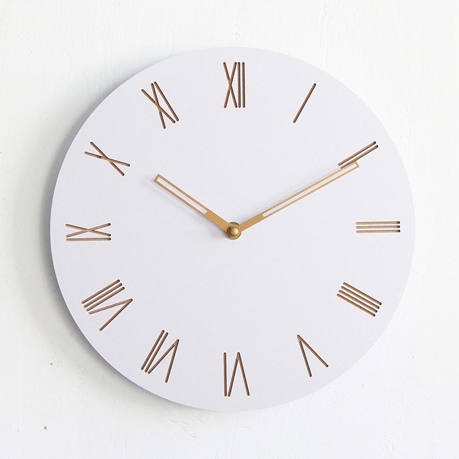Horloge murale blanche en bois  simple et moderne  sans cadre  DECOCLOCK