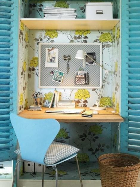 gain de place cr ez votre bureau dans une armoire decocrush. Black Bedroom Furniture Sets. Home Design Ideas