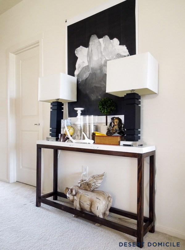 diy une console pour l 39 entr e moins de 20 decocrush. Black Bedroom Furniture Sets. Home Design Ideas