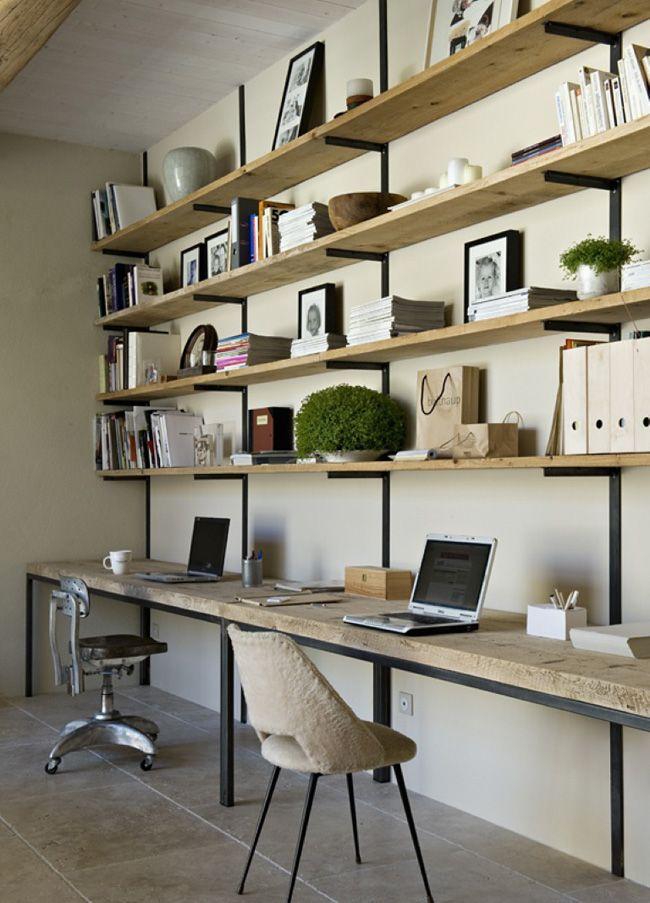 Diy un bureau industriel tout simple en bois brut et acier decocrush - Deco bureau industriel ...