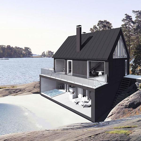 Weekly Crush... : maison scandinave sur la plage + jacuzzi | @decocrush - www.decocrush.fr