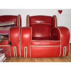 Red Leather Two Seater Sofa Tom Dixon Art Deco Suite (sofa & 2 Chairs) - Dave