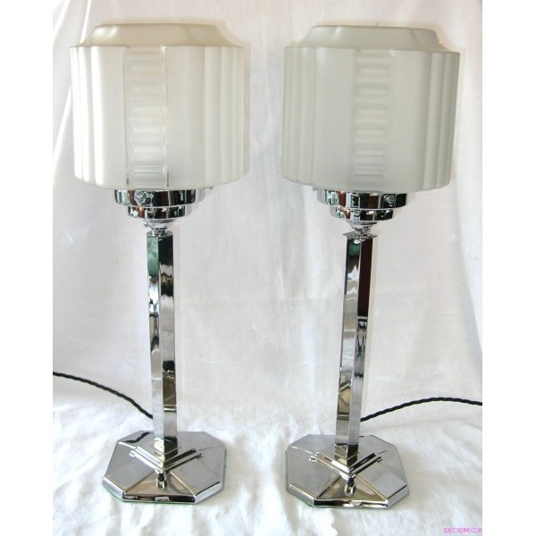 Pair Of Chrome Art Deco Table Lamps  Deco Dave