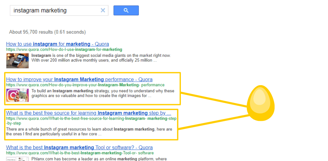 quora questions in search results through google cse