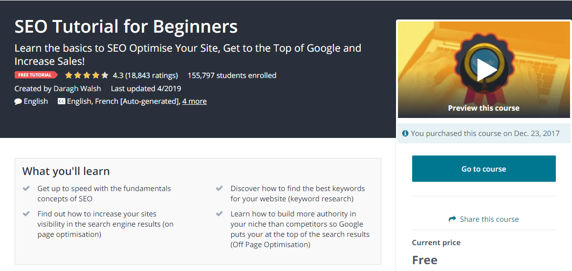 seo tutorial for beginners by Udemy