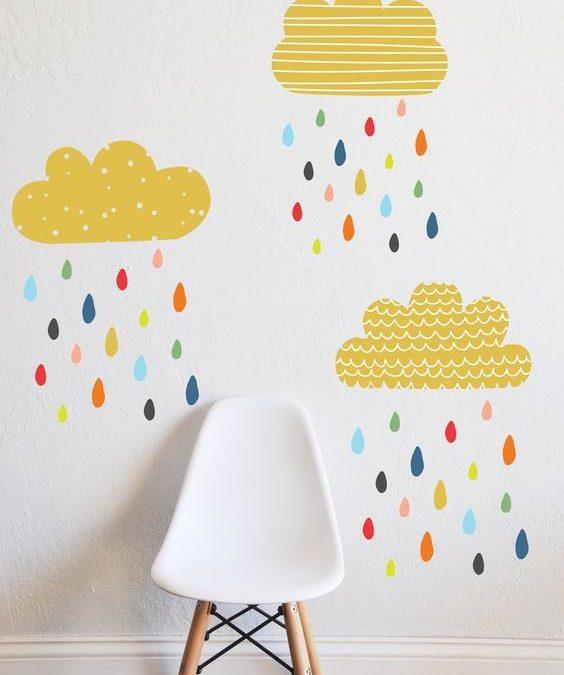 Συννεφάκια και βροχούλα στο παιδικό δωμάτιο