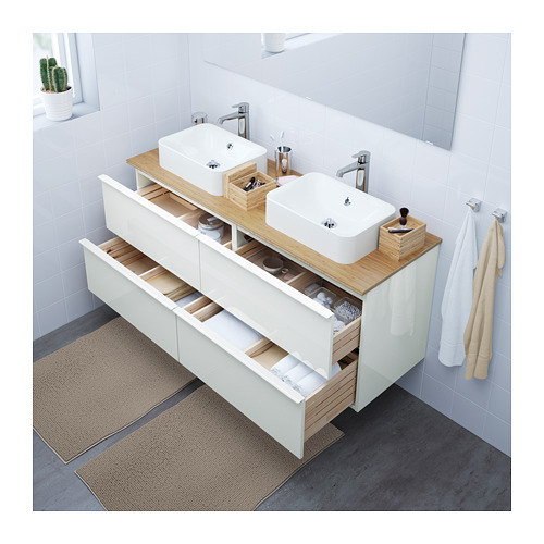 Bathroom Vanity White And Bamboo Counter Top Godmorgon Tolken At Ikea 89900 Cadn