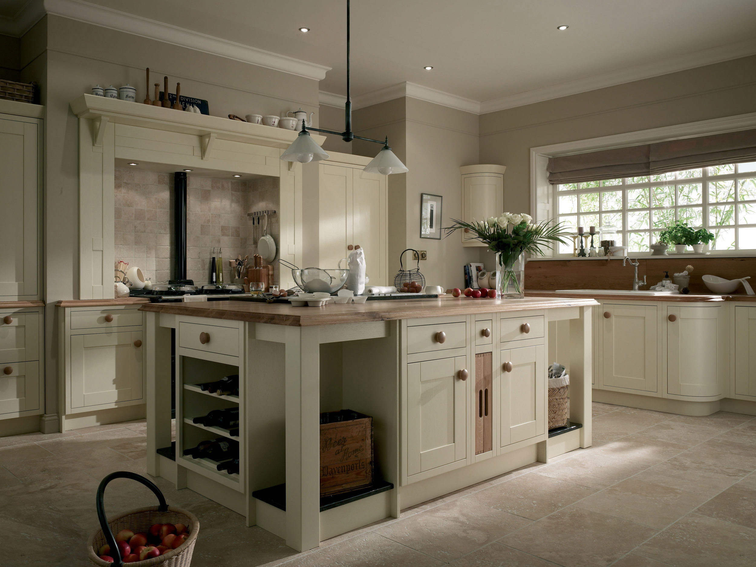 country kitchen island art work ivory traditional