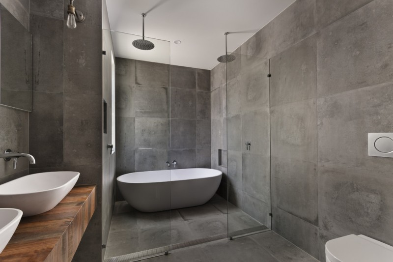 The Options of Simple  Chic Tiled Bathroom Floors and