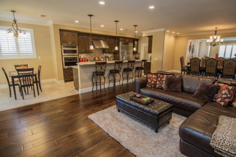 flooring living room kitchen home decorators the beauty of sharing space decohoms open with white wall ceiling light brown for and dining