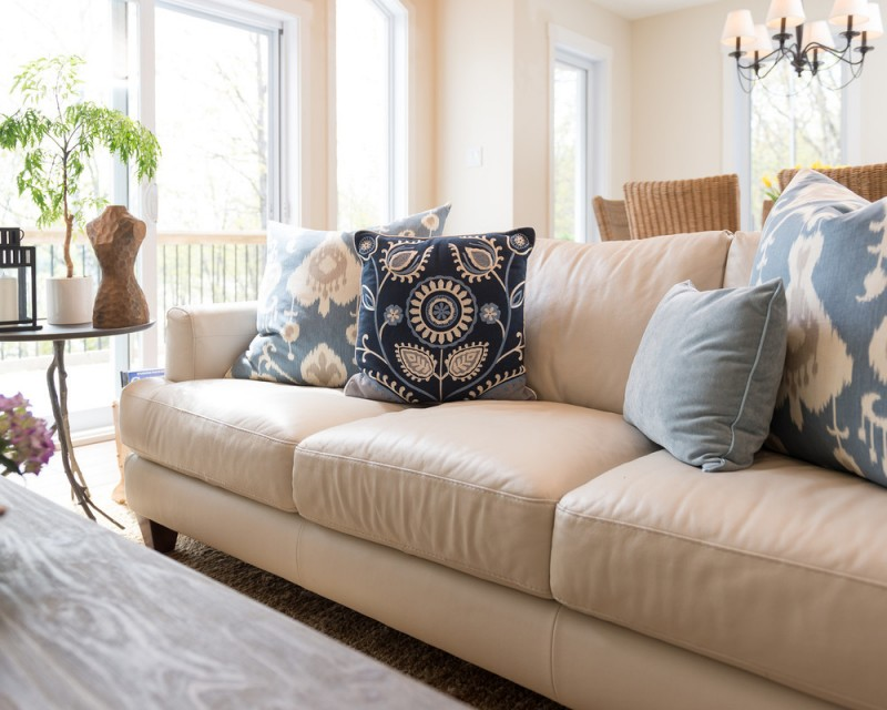cushion ideas for light brown sofa set design hd photos aesthetically pleasing pillows leather couch decohoms embroider floral pattern in soft tone