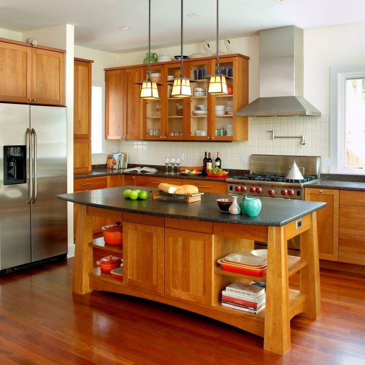 cherry kitchen island storage fancy and natural cabinets decohoms surfers end black andes honed granite brazilian floors chrome polished