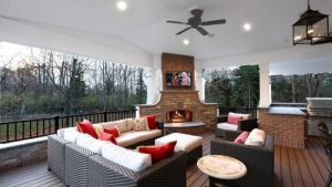Outdoor Corner Fireplace, A Great Warm Spot Outside Your