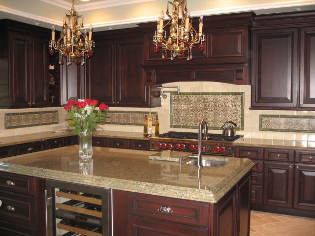 cherry wood kitchen island ideas on a budget precious spanish tile for your backsplash   decohoms