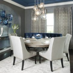 Settee For Kitchen Table Wooden Play Sets Chic Curved Striking Round Dining Design Decohoms Blue White Chairs Rug Medium Toned Floors Chandelier Lamps