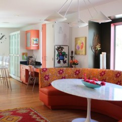 Settee For Kitchen Table Designs Small Kitchens Chic Curved Striking Round Dining Design Decohoms Trendy Eat In Photo With Flat Panel Cabinets And Orange Red Rug Medium Toned