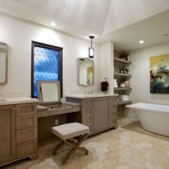 Brown Kitchen Sink Ceiling Fan With Light Shoving In Beautiful Make Up Station Inside Bathroom ...